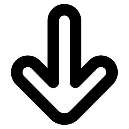bottom line: Down Arrow vector icon. Style is stroke flat icon symbol, black color, white background.