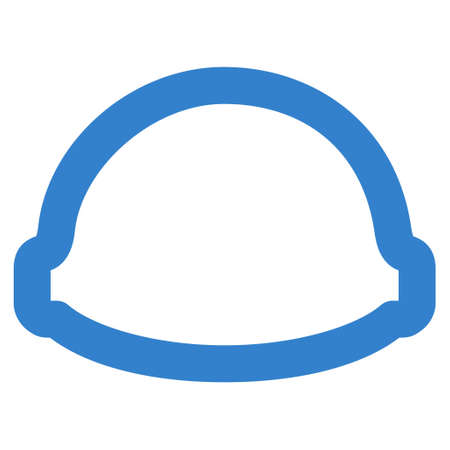 Builder Helmet glyph icon. Style is outline flat icon symbol, cobalt color, white background. Stock Photo