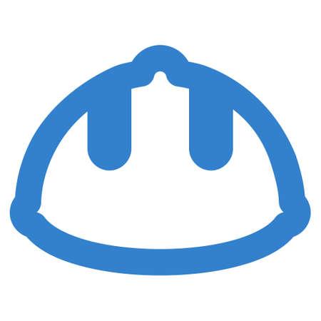 Builder Helmet glyph icon. Style is contour flat icon symbol, cobalt color, white background. Stock Photo