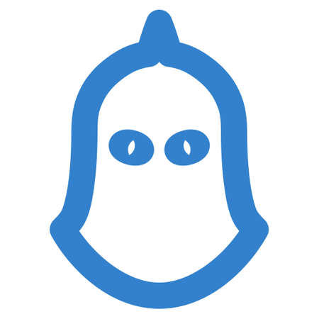 Executioner Helmet glyph icon. Style is outline flat icon symbol, cobalt color, white background. Stock Photo