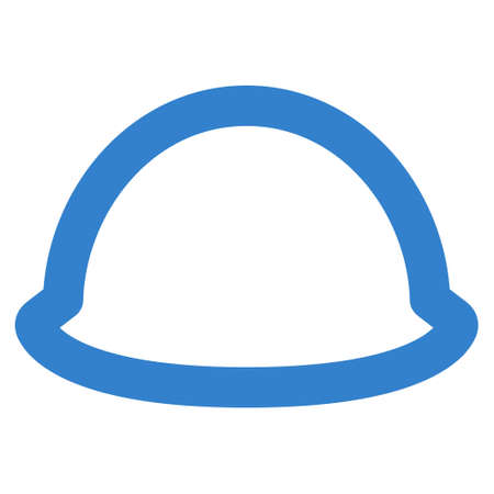 hardhat: Hardhat glyph icon. Style is stroke flat icon symbol, cobalt color, white background.