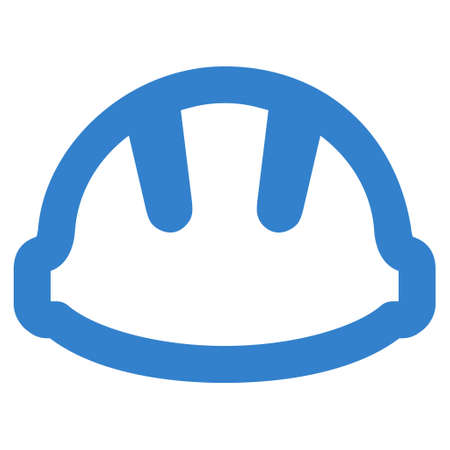 cobalt: Hardhat glyph icon. Style is linear flat icon symbol, cobalt color, white background. Stock Photo