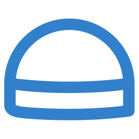 hardhat: Hardhat glyph icon. Style is outline flat icon symbol, cobalt color, white background.