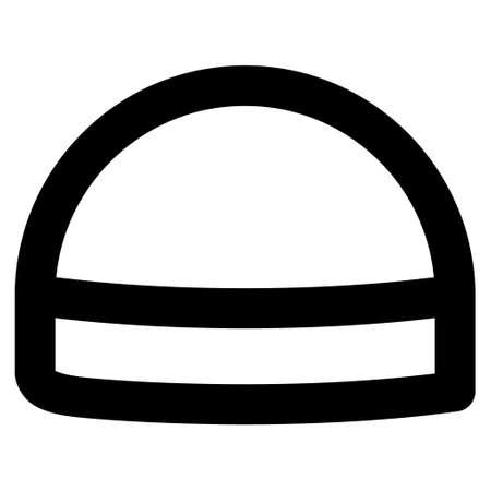 hardhat: Hardhat vector icon. Style is contour flat icon symbol, black color, white background.