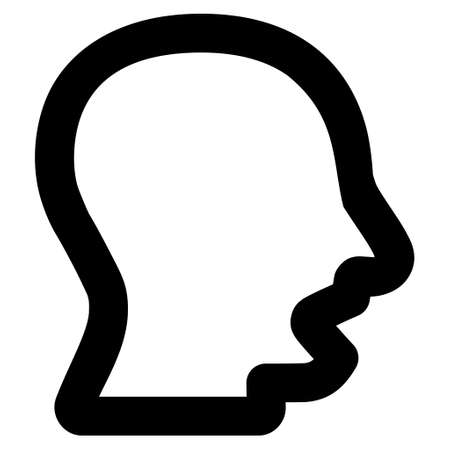 talker: Yawning Head vector icon. Style is linear flat icon symbol, black color, white background. Illustration