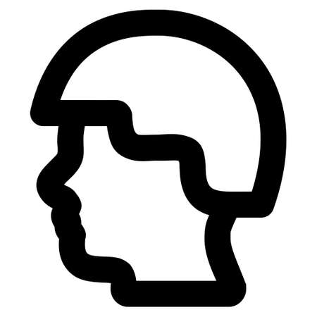 combatant: Soldier Head vector icon. Style is stroke flat icon symbol, black color, white background.