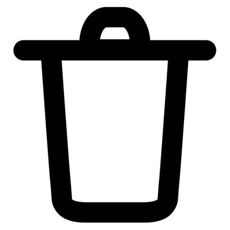 Bucket vector icon. Style is linear flat icon symbol, black color, white background.