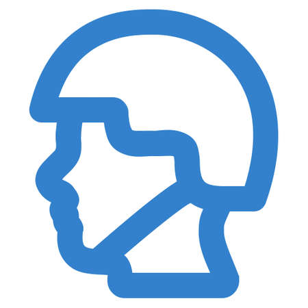 cobalt: Soldier Head glyph icon. Style is linear flat icon symbol, cobalt color, white background.