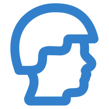 army face: Soldier Head glyph icon. Style is linear flat icon symbol, cobalt color, white background.