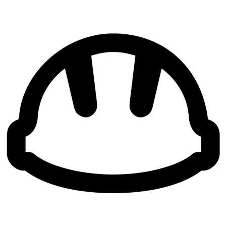 hardhat: Hardhat vector icon. Style is stroke flat icon symbol, black color, white background.