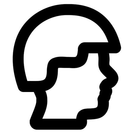 combatant: Soldier Head vector icon. Style is linear flat icon symbol, black color, white background.