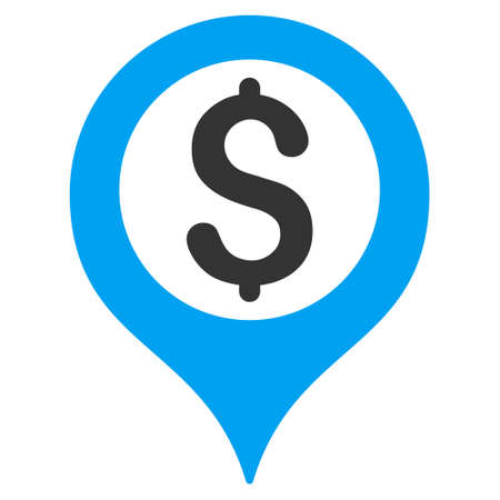 Bank Map Marker icon. Glyph style is bicolor flat iconic symbol with rounded angles, blue and gray colors, white background.