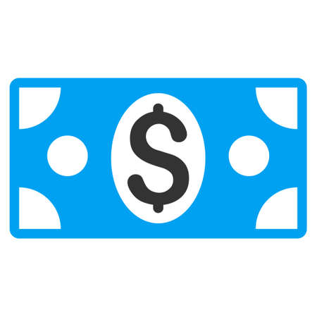 banknote: Dollar Banknote icon. Glyph style is bicolor flat iconic symbol with rounded angles, blue and gray colors, white background.