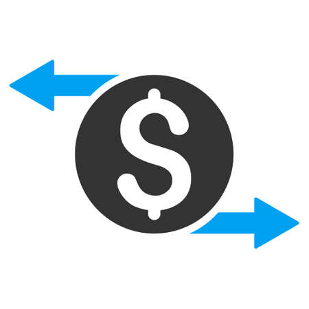 economic activity: Money Exchange icon. Glyph style is bicolor flat iconic symbol with rounded angles, blue and gray colors, white background.