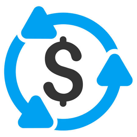 Money Turnover icon. Glyph style is bicolor flat iconic symbol with rounded angles, blue and gray colors, white background.
