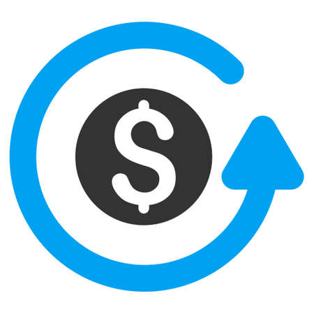 Refund icon. Glyph style is bicolor flat iconic symbol with rounded angles, blue and gray colors, white background.