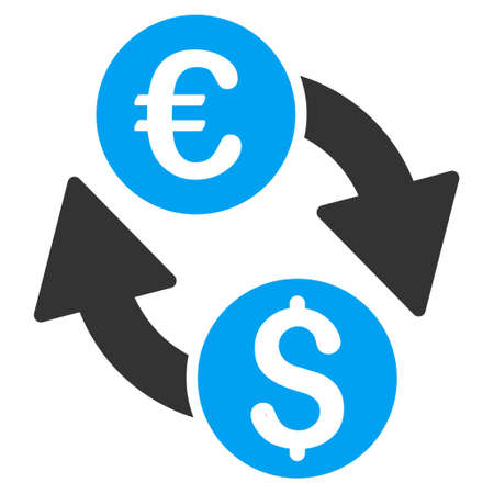 euro money: Euro Money Exchange icon. Vector style is bicolor flat iconic symbol with rounded angles, blue and gray colors, white background.