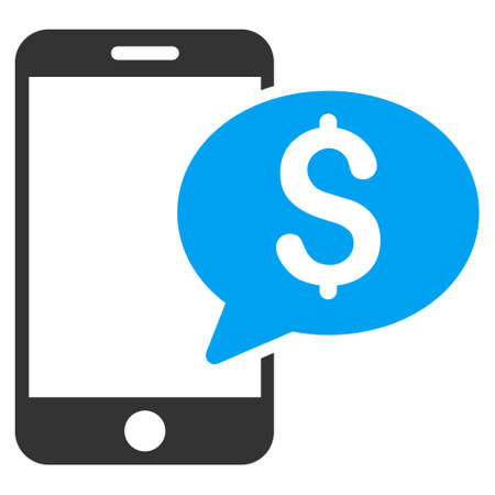 sms payment: Mobile Money Message icon. Vector style is bicolor flat iconic symbol with rounded angles, blue and gray colors, white background. Illustration