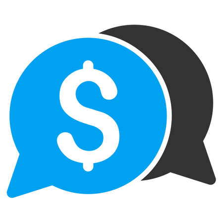 Money Messages icon. Vector style is bicolor flat iconic symbol with rounded angles, blue and gray colors, white background. Illustration