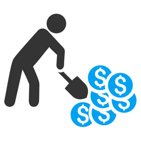 golden shovel: Money Mining icon. Vector style is bicolor flat iconic symbol with rounded angles, blue and gray colors, white background.