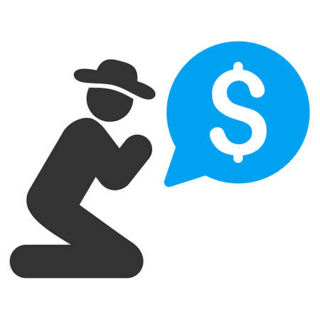Pray for Money icon. Vector style is bicolor flat iconic symbol with rounded angles, blue and gray colors, white background. Illustration
