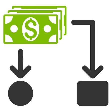 cashflow: Cashflow icon. Glyph style is bicolor flat iconic symbol with rounded angles, eco green and gray colors, white background.