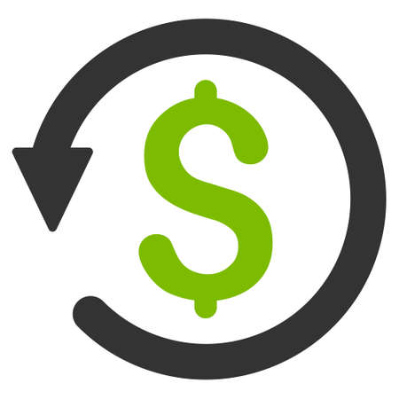 Chargeback icon. Glyph style is bicolor flat iconic symbol with rounded angles, eco green and gray colors, white background.