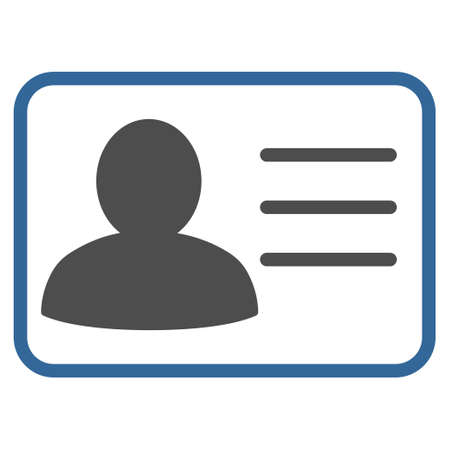 cobalt: Account Card icon. Vector style is bicolor flat iconic symbol with rounded angles, cobalt and gray colors, white background.