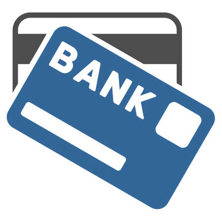cobalt: Bank Cards icon. Vector style is bicolor flat iconic symbol with rounded angles, cobalt and gray colors, white background.