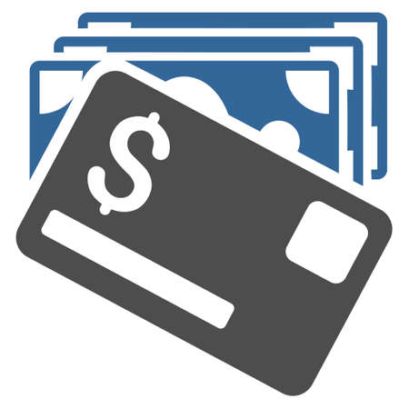 cobalt: Banknotes and Card icon. Vector style is bicolor flat iconic symbol with rounded angles, cobalt and gray colors, white background. Illustration