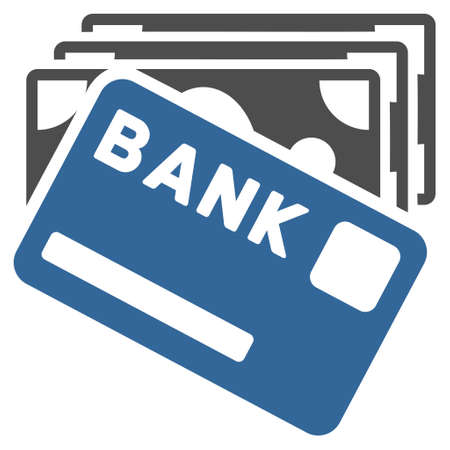 creditcard: Credit Money icon. Vector style is bicolor flat iconic symbol with rounded angles, cobalt and gray colors, white background.