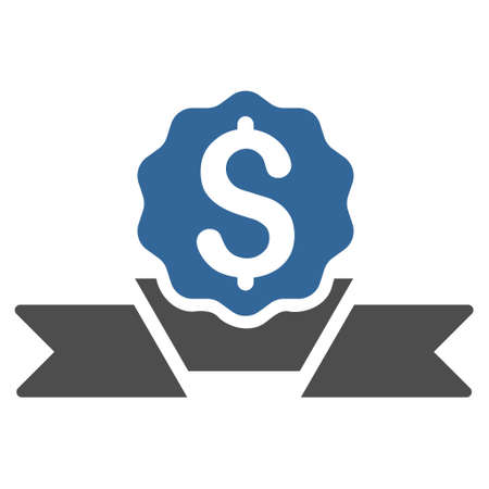 Dollar Award icon. Vector style is bicolor flat iconic symbol with rounded angles, cobalt and gray colors, white background.