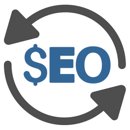 Update Seo icon. Vector style is bicolor flat iconic symbol with rounded angles, cobalt and gray colors, white background.