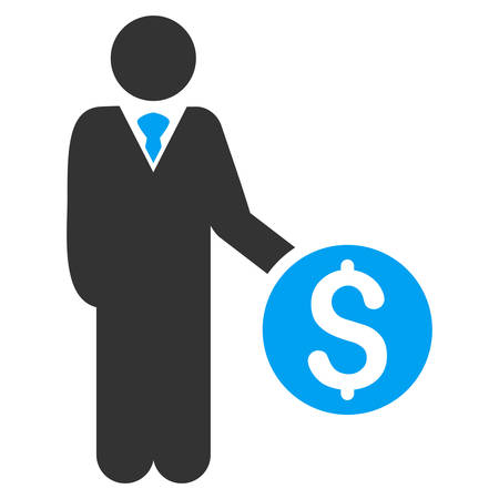 banker: Banker icon. Vector style is bicolor flat iconic symbol with rounded angles, blue and gray colors, white background.