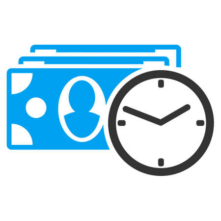 timed: Cash Credit icon. Vector style is bicolor flat iconic symbol with rounded angles, blue and gray colors, white background.