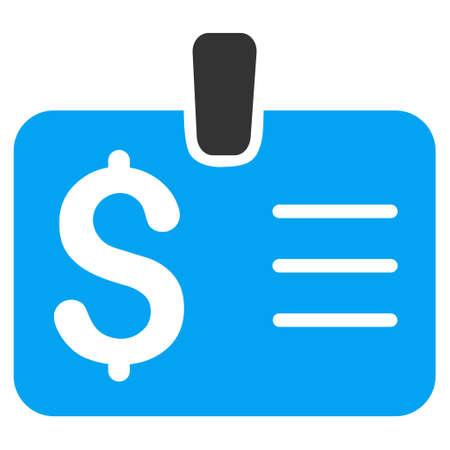 chequera: icono de dólar de la insignia. estilo vector es bicolor símbolo icónico plana con ángulos redondeados, colores azul y gris, fondo blanco.