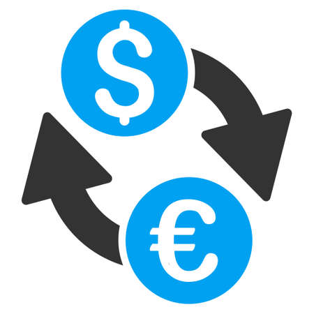 bank activities: Euro Dollar Exchange icon. Vector style is bicolor flat iconic symbol with rounded angles, blue and gray colors, white background.