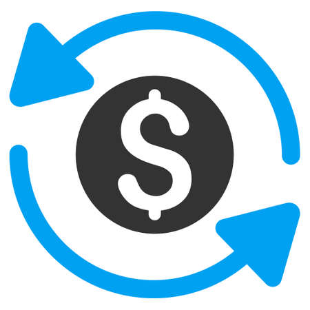turnover: Money Turnover icon. Vector style is bicolor flat iconic symbol with rounded angles, blue and gray colors, white background. Illustration