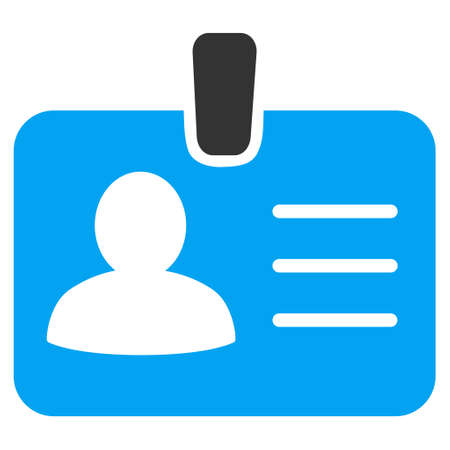 Person Badge icon. Vector style is bicolor flat iconic symbol with rounded angles, blue and gray colors, white background.