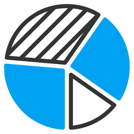 pie chart icon: Pie Chart icon. Vector style is bicolor flat iconic symbol with rounded angles, blue and gray colors, white background. Illustration