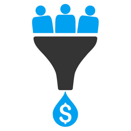 Sales Funnel icon. Vector style is bicolor flat iconic symbol with rounded angles, blue and gray colors, white background.