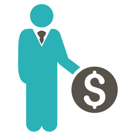 banker: Banker icon. Glyph style is bicolor flat iconic symbol with rounded angles, grey and cyan colors, white background. Stock Photo