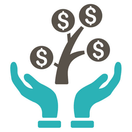 commercial tree care: Money Tree Care Hands icon. Glyph style is bicolor flat iconic symbol with rounded angles, grey and cyan colors, white background. Stock Photo