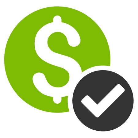 Approved Payment icon. Glyph style is bicolor flat iconic symbol with rounded angles, eco green and gray colors, white background.
