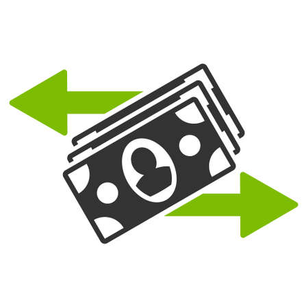 bank activities: Banknotes Payments icon. Glyph style is bicolor flat iconic symbol with rounded angles, eco green and gray colors, white background.
