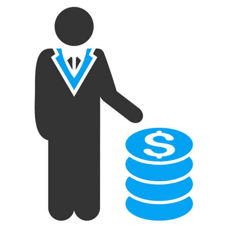 stockbroker: Businessman icon. Vector style is bicolor flat iconic symbol with rounded angles, blue and gray colors, white background. Illustration
