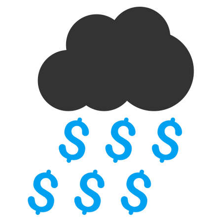 money rain: Money Rain icon. Vector style is bicolor flat iconic symbol with rounded angles, blue and gray colors, white background. Illustration