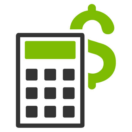 computation: Business Calculator icon. Glyph style is bicolor flat iconic symbol with rounded angles, eco green and gray colors, white background.