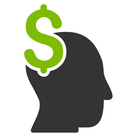 intellect: Commercial Intellect icon. Glyph style is bicolor flat iconic symbol with rounded angles, eco green and gray colors, white background. Stock Photo