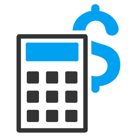 adder: Business Calculator icon. Vector style is bicolor flat iconic symbol with rounded angles, blue and gray colors, white background. Illustration